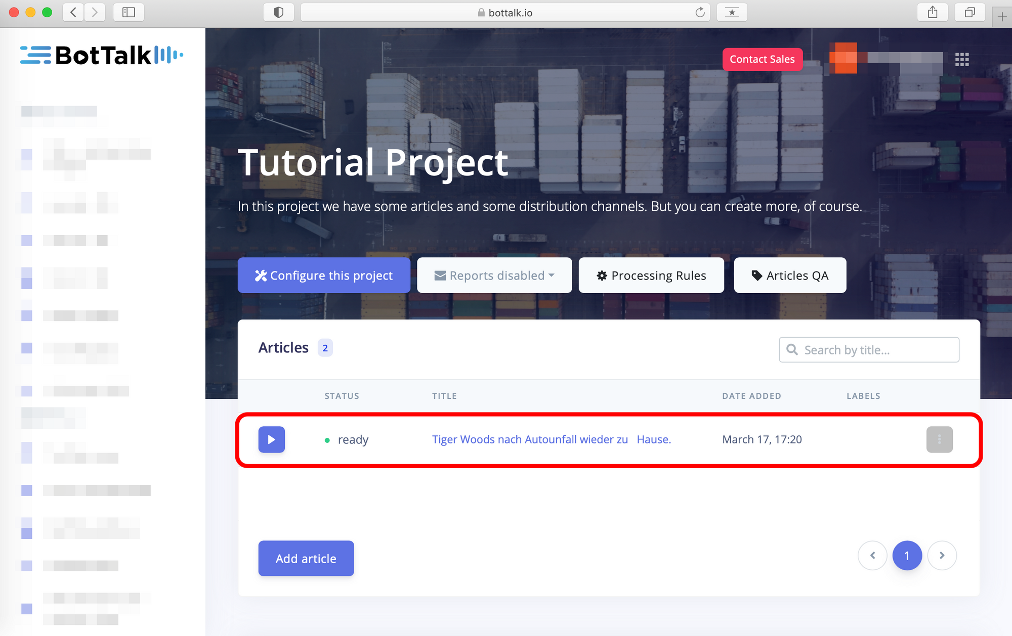 Project inside BotTalk text-to-speech platform, Here you can see our tutorial project inside the BotTalk platform