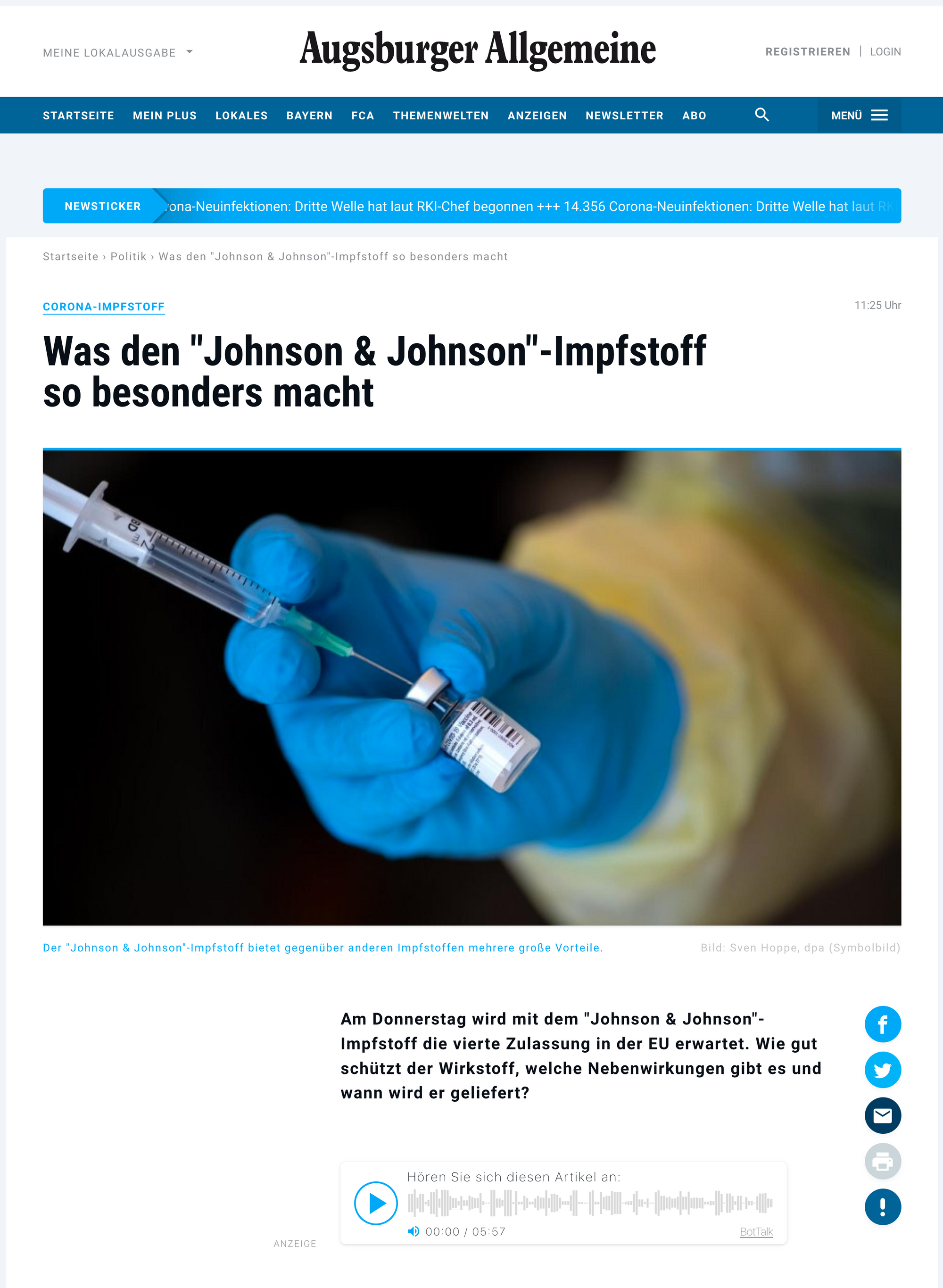 BotTalk player integrated in every article on the Augsburger Allgemeine webpage.