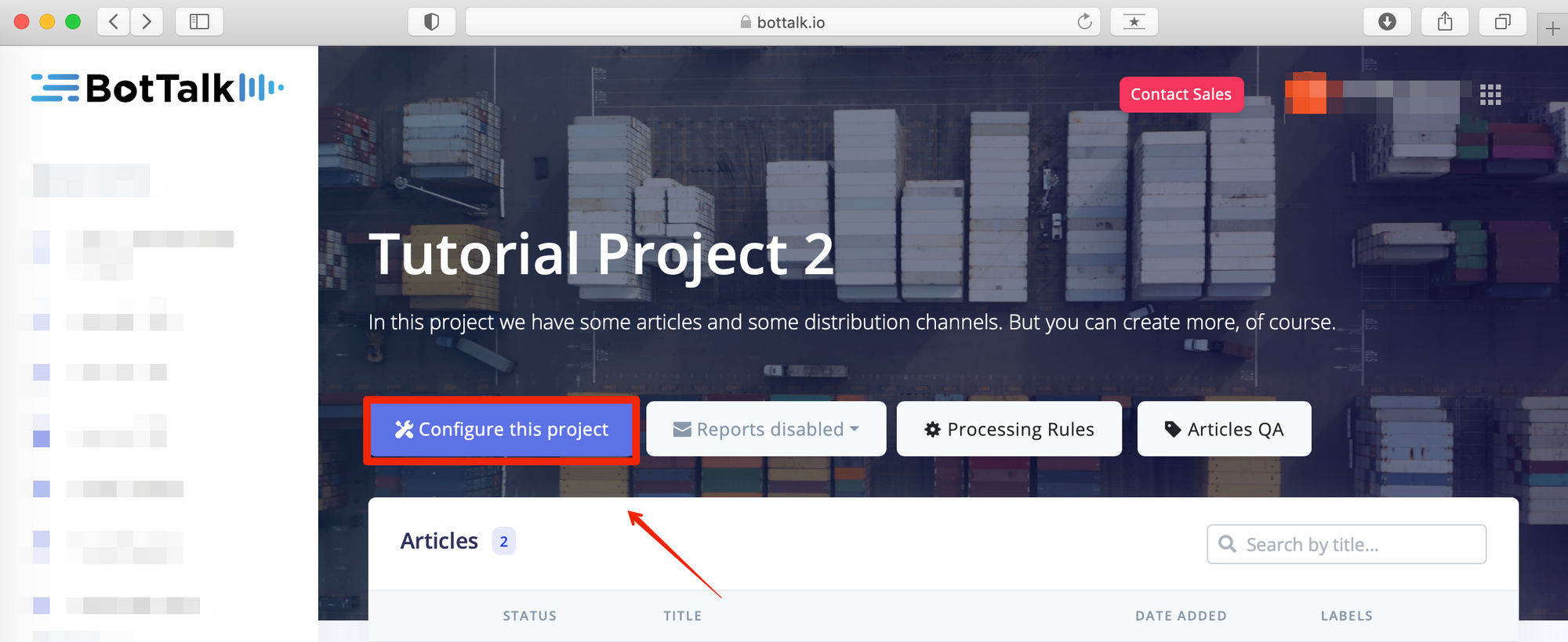 Configuration of BotTalk projects