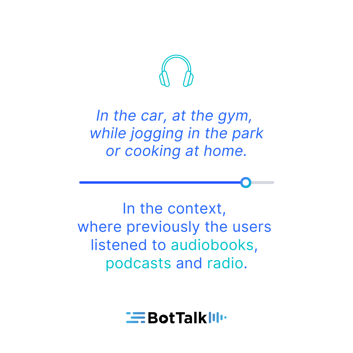Text-to-speech articles take the place in the new context, that was previously taken by audiobooks, podcasts and radio.