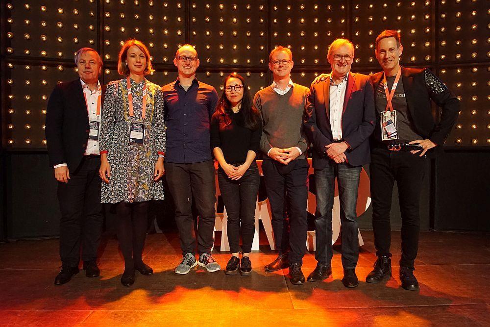 Startup Stage Logistics & Mobility: Philipp Thyben (Pulpo WMS), Miriam Kröger (Next Logistics Accelerator/Jury), Kingsly Kongnyuh Kwalar (Optimiz), Michael Hötte (Sirum), Jakob Muus (Tracks), Niels Wiecker (BWVI/Jury) und Maurice Kügler (High-Tech Gründerfonds/Jury).