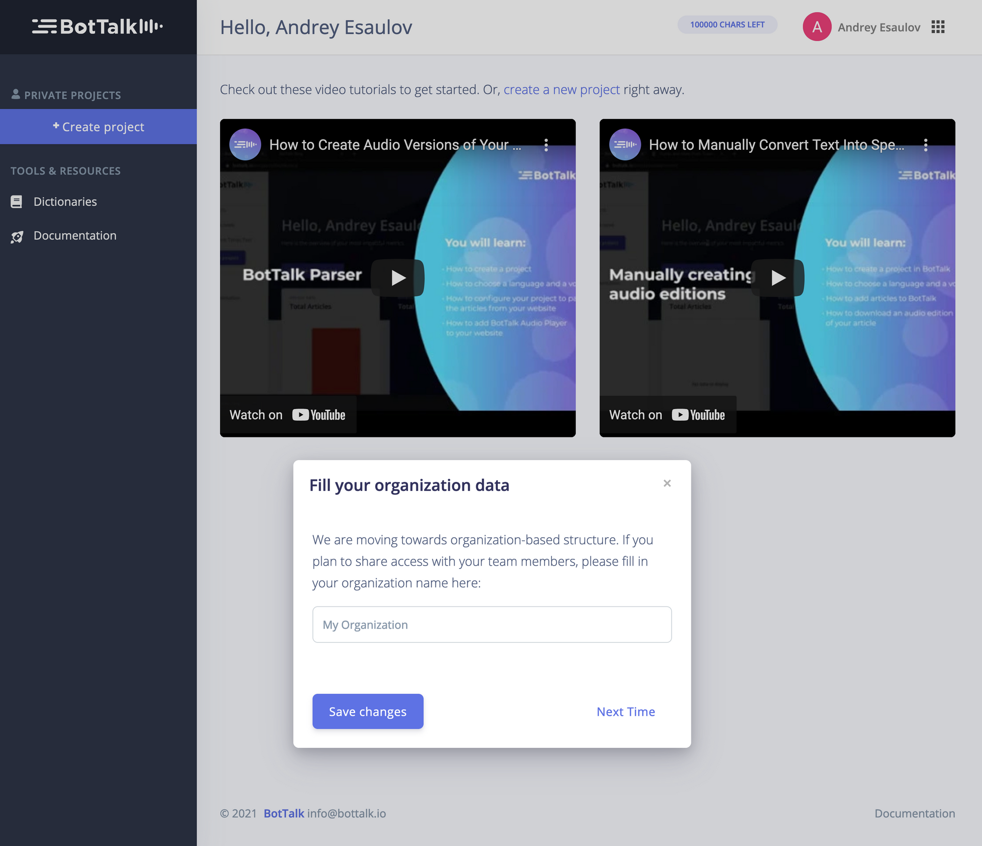 BotTalk dashboard after an account has been created successfully