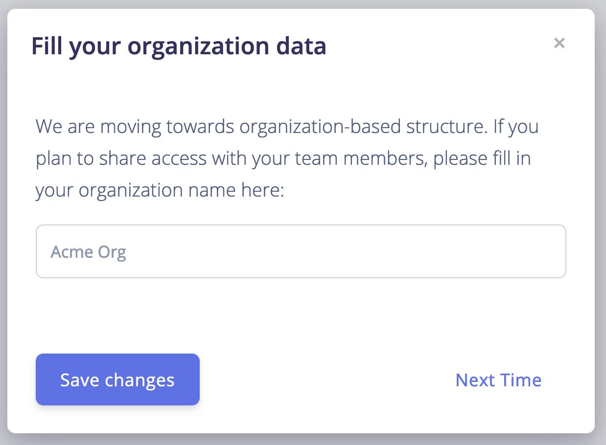Creating a new organization in BotTalk