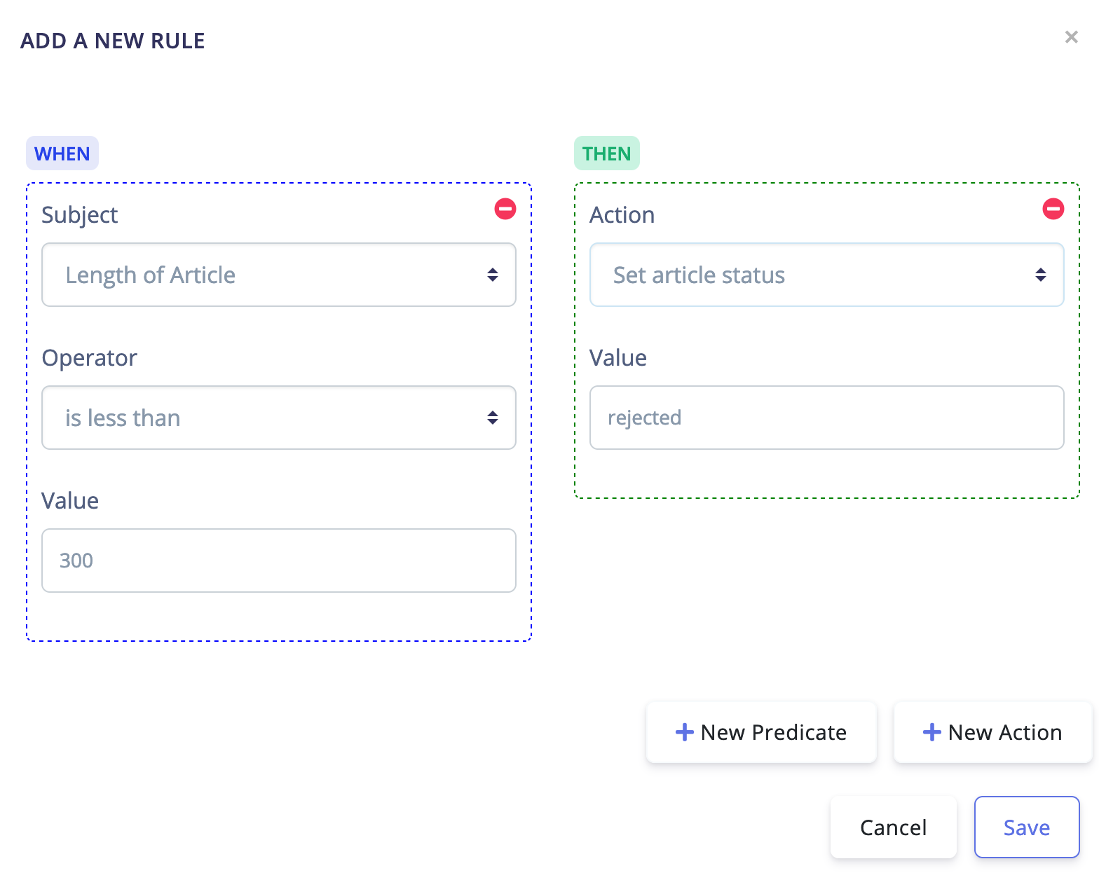Audio Automation Rule to reject articles that are less than 300 characters long