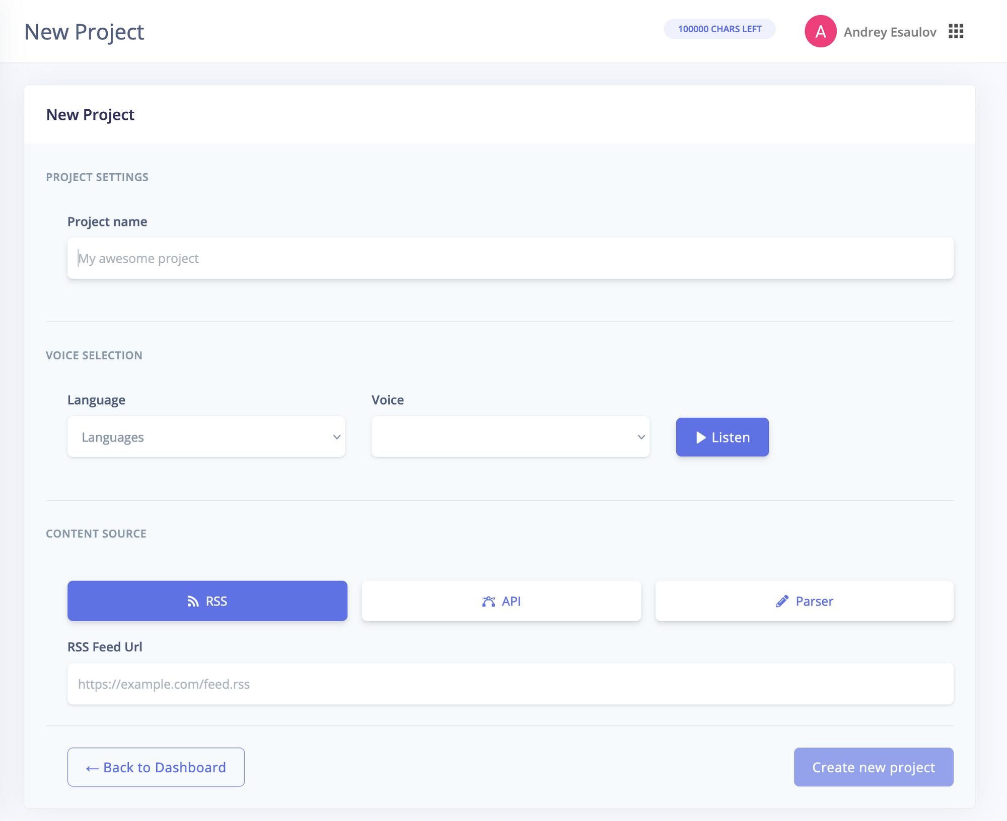 Project Creation Screen - BotTalk Audio CMS