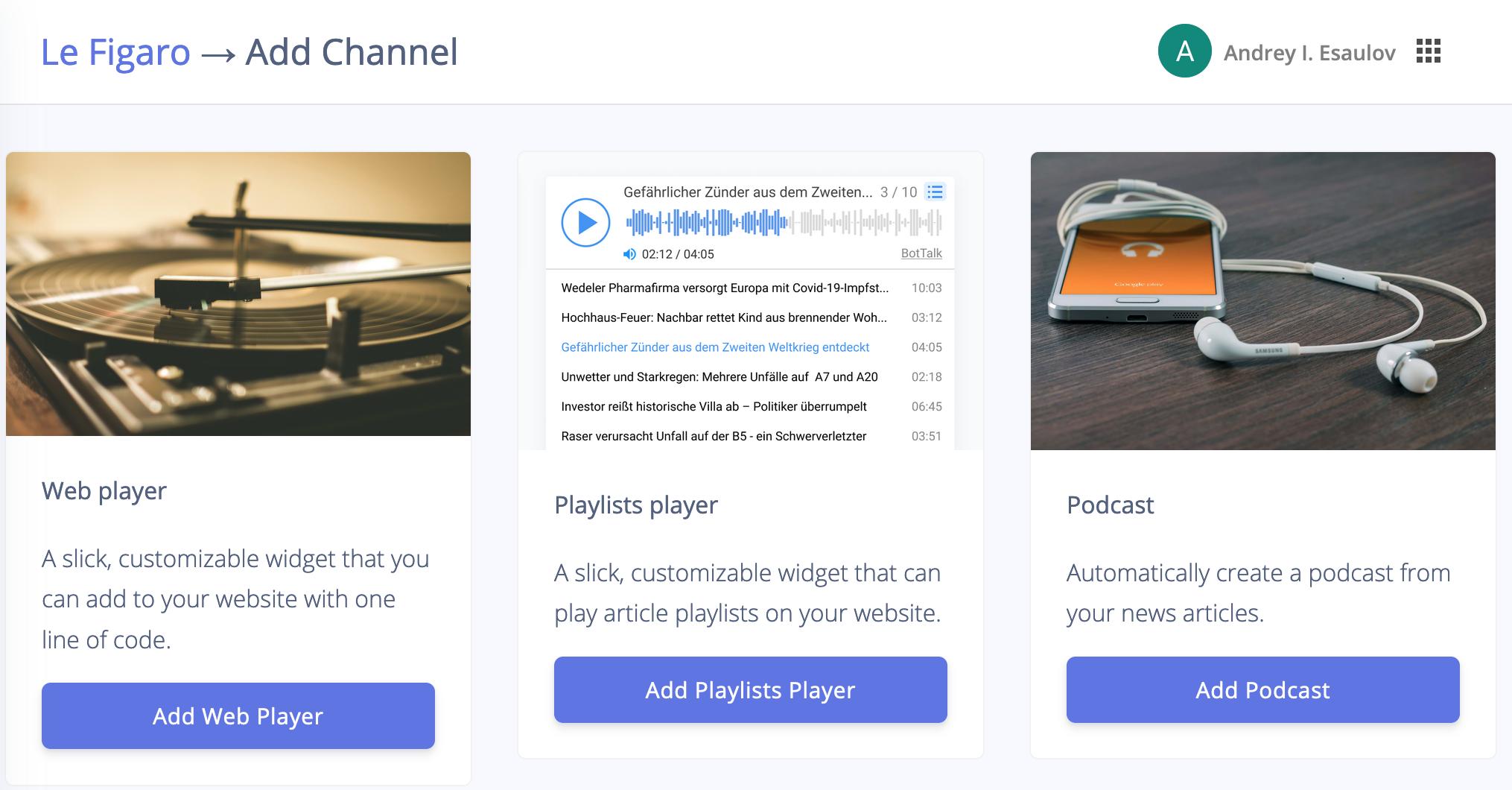 BotTalk Audio CMS - Distribution Channels Selection